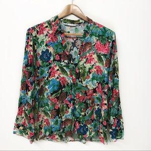ZARA Floral button blouse Large